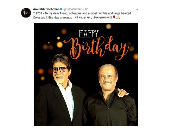 Big B Wishes Rajinikanth