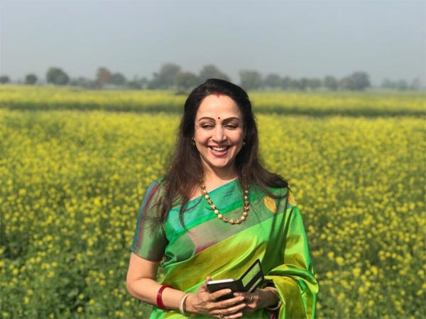 Hema Malini Mustard Fields Mathura Green Silk Saree