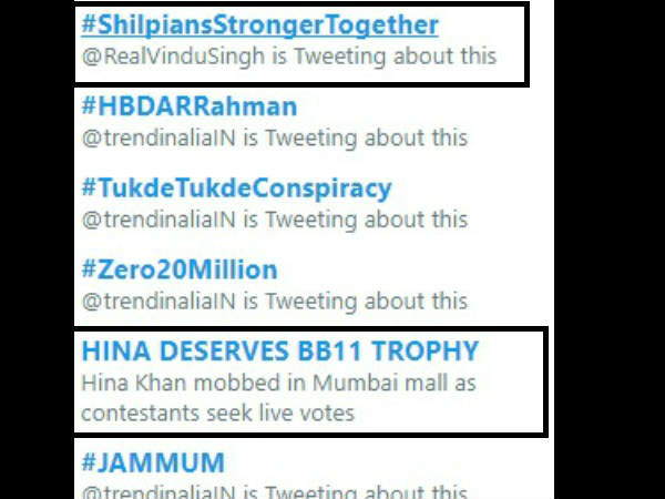 Shilpa & Hina's Fans Trend Their Favourites On Twitter