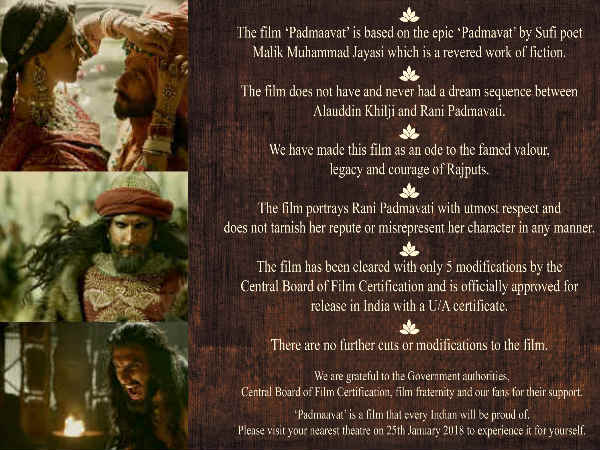NO MORE CONTROVERSY PLEASE! Padmaavat Makers Release An Ad Full Of 'Disclaimers' To Prevent Uproar