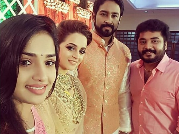 Bhavana and Naveen throw a grand wedding reception for friends, family