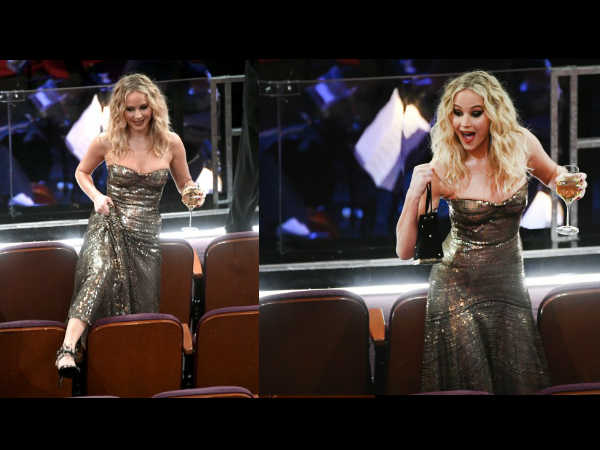 Oscars 2018: Jennifer Lawrence Climbs Over Chairs While Juggling A Glass Of Wine In Her Hand!