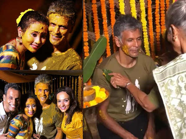 Inside Pics & Videos! Milind Soman & Ankita Konwar Look Radiant At Their Haldi Cermony In Alibaug