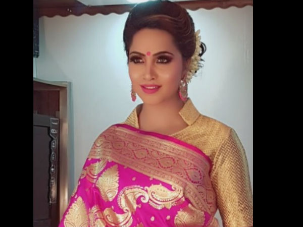 Arshi Looks Beautiful In The Pink Sari