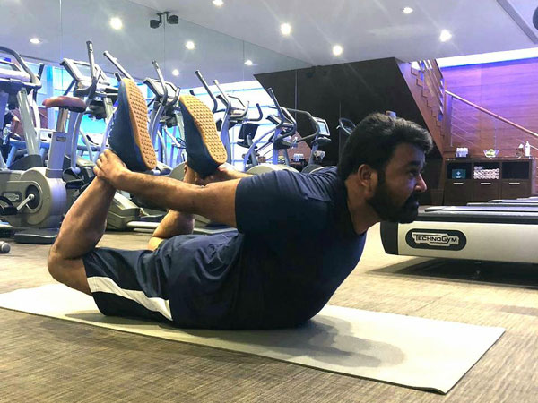 Mohanlal Strikes A Yoga Pose