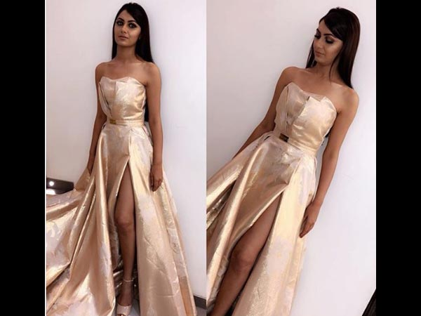 Sriti Shines In A Golden Outfit