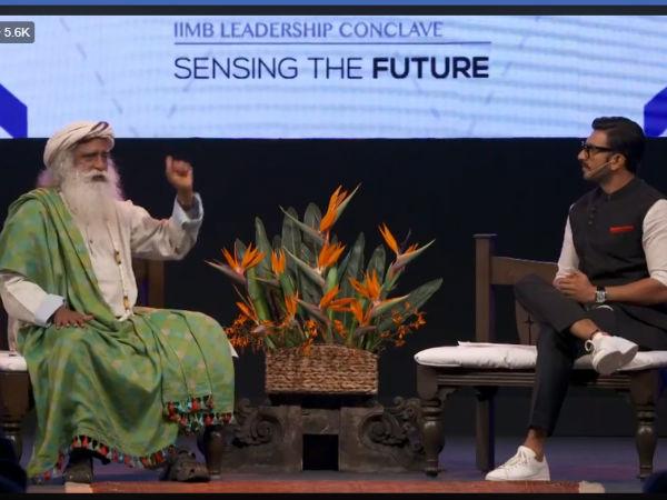 Ranveer Singh In Conversation With Spiritual Guru Jaggi Vasudev At The IIMBue