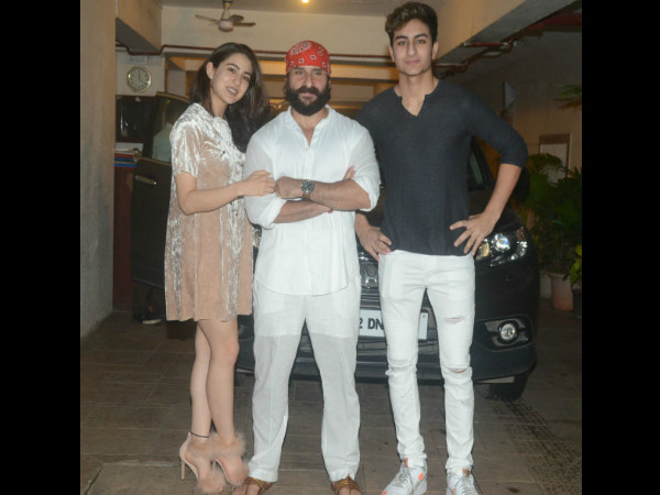 Saif Poses With His Kids