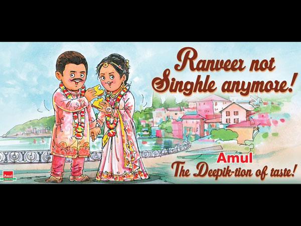 Amul Congratulates Deepika Padukone Ranveer Singh With An Artwork On Their Wedding