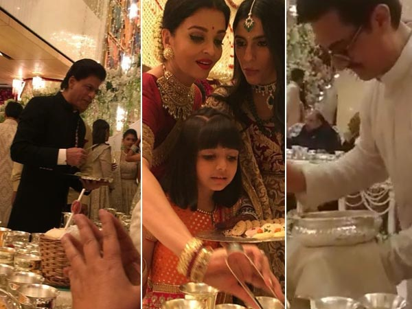Shahrukh Khan, Aamir Khan, Aishwarya Rai Bachchan Serve Food To Guests At Isha Ambani's Wedding!