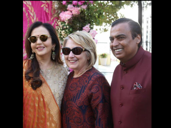Hillary Clinton Poses With Nita & Mukesh Ambani Ahead Of Isha Ambani's Wedding Festivities