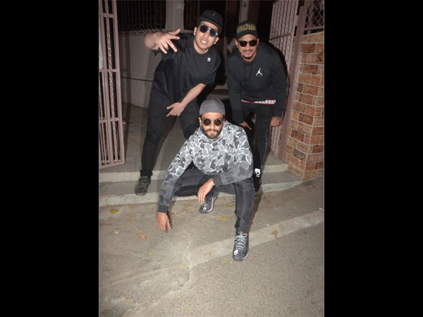 Ranveer Singh Poses With The OG Gully Boys; Ranveer, Divine & Naezy Spotted At A Recording Studio