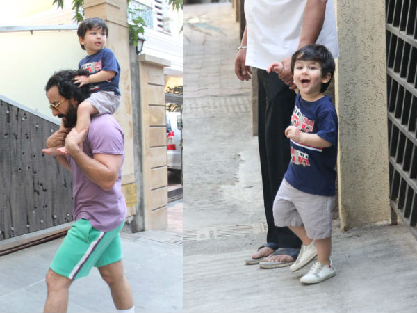 Taimur Goes For A Piggyback Ride On Dad's Shoulders Again