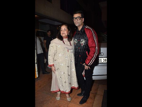Karan Johar & His Mother Hiroo Johar Pose For Pictures