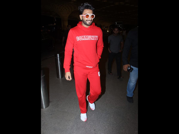 Ranveer Spotted In An All Red Ensemble At The Airport