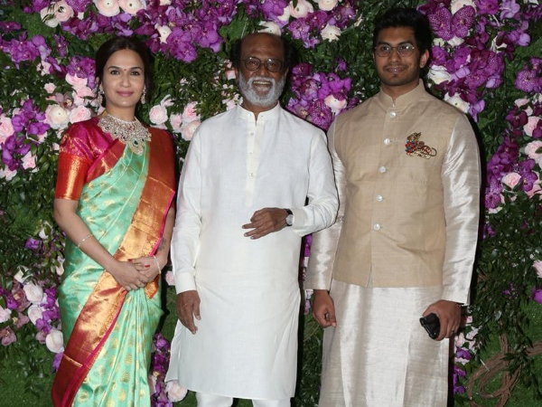 Akash Shloka Wedding Rajinikanth Strikes Pose With Daughter Soundarya