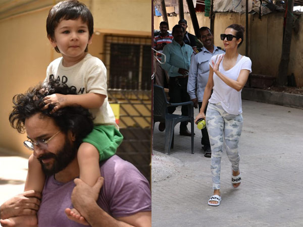Taimur Looks Happy Getting A Piggy Back Ride On Dad's Shoulder; Malaika Arora Snapped After Gym