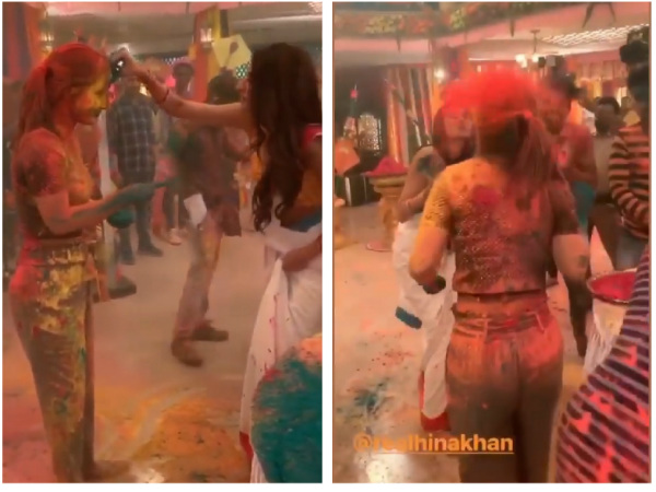 What COLD WAR! Hina Khan & Erica Fernandes Play Holi With Parth & Others On Kasautii Sets!