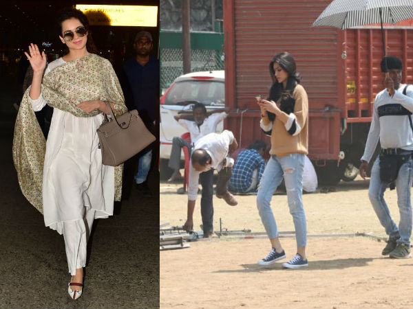 Kangana Ranaut Looks Elegant At The Airport; Kriti Sanon Snapped During An Ad Shoot