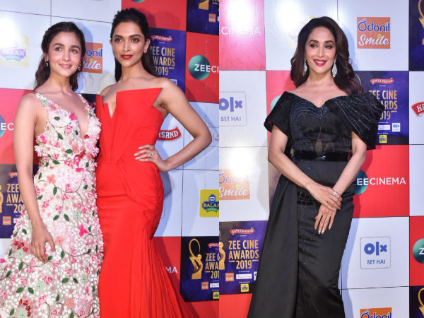 Alia Bhatt & Deepika Padukone Share A Frame At Zee Cine Awards 2019, Madhuri Dixit Looks Surreal