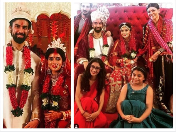 Charu Asopa & Rajeev Sen's Lavish Wedding: Sushmita Sen, Her BF & Daughters Pose With Newlyweds!