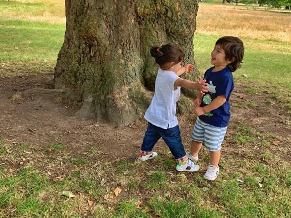 Taimur Ali Khan Reunites With Cousin Inaaya Naumi Kemmu In London & It's Too Cute To Handle!