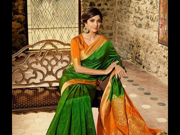 Shilpa Dons A Beautiful Green & Saffron Saree And Sends Out This Message -
