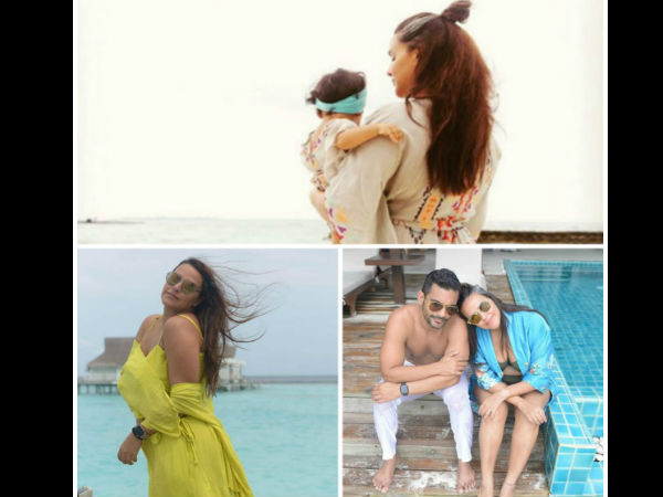 Neha Dhupia Shares Gorgeous Maldives Vacay Pictures With Adorable Baby Mehr & Hubby Angad Bedi!