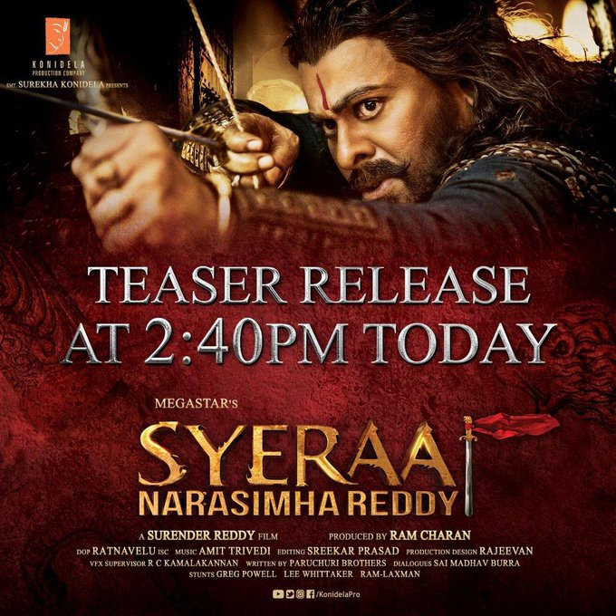 Sye Raa Narasimha Reddy Teaser : A Mega Treat For Chiranjeevi Fans