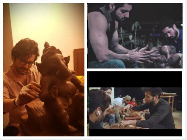 Karan Wahi, Rithvik Dhanjani, Raqesh Bapat & Rajat Barmecha Sculpt Eco-friendly Ganesha Idols (PICS)