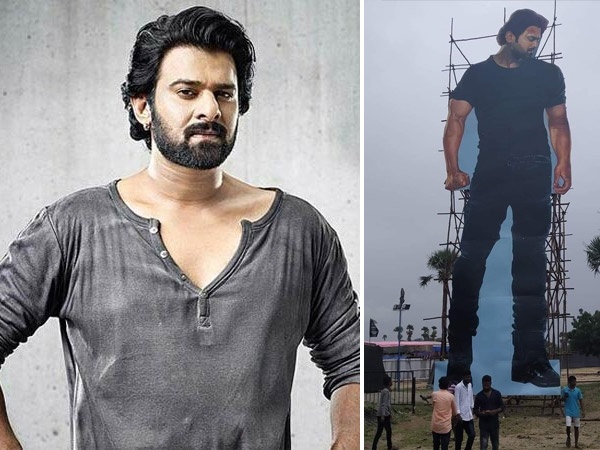 Saaho Celebrations Begin: Fans Place 70-Feet Cutout Of Prabhas At An Event