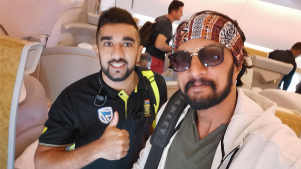 Sudeep Heads To Dubai With South African Cricket Team! Shares Frame With Players For Selfie