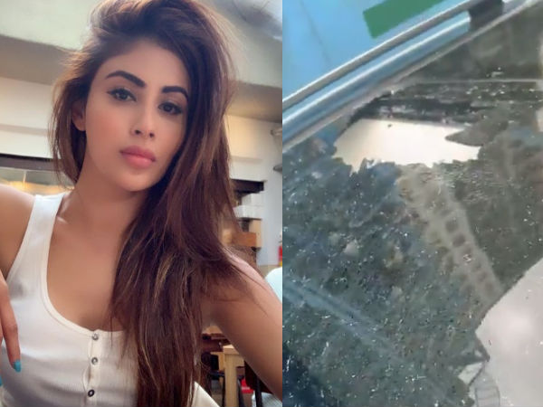 Mouni Roy Car Damaged By Falling Rock At Metro Site