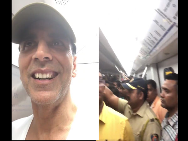 VIDEO: Akshay Kumar Ditches Car, Takes Crowded Mumbai Metro!