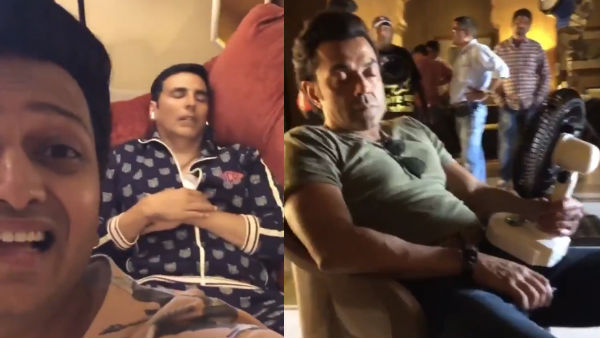 Akshay & Bobby Nap On The Set Of Housefull 4: VIDEO!