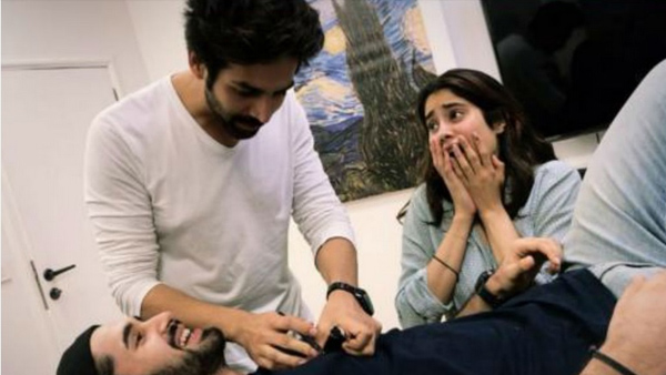 Dostana 2: Kartik Aaryan, Janhvi Kapoor And Lakshya Goof Around While Prepping For The Sequel