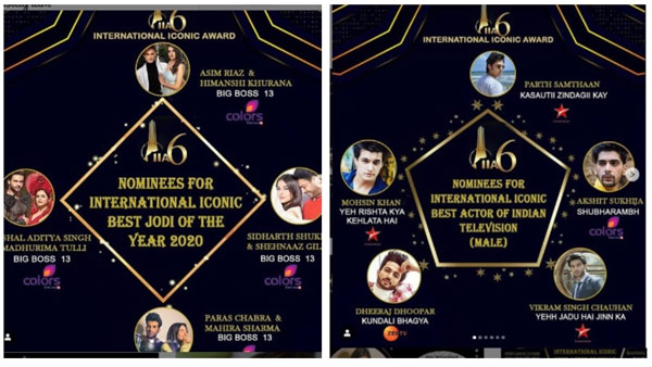 Also Read: International Iconic Awards 2020: Parth Samthaan, Erica, Shehnaaz-Sidharth & Others Nominated!