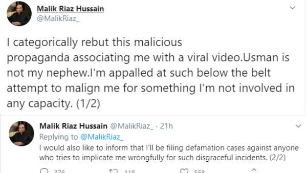Malik Riaz's Tweet