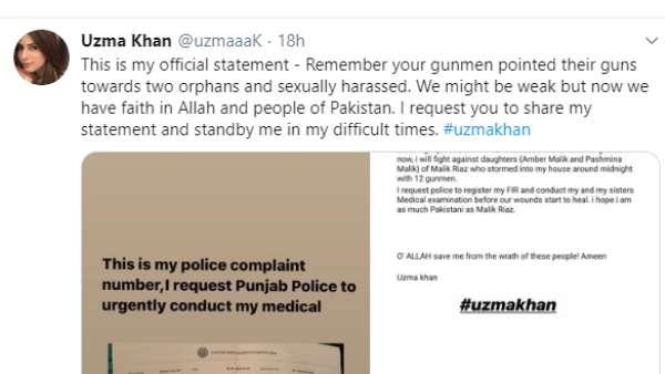 Uzma Khan's Tweet