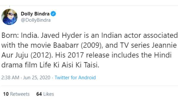 Dolly Bindra's Tweet