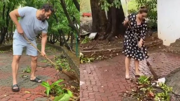 Salman Khan And Iulia Vantur Clean His Panvel Farmhouse