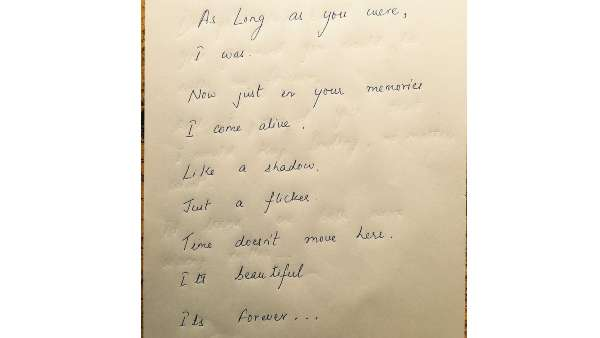 Sushant's Hand Written Poem For Late Mother