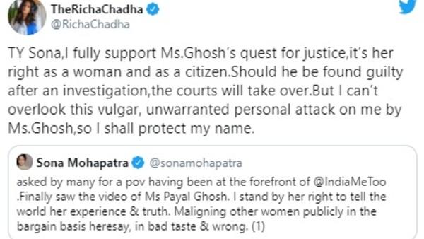 Richa Chadha Reacts To One Of Sona's Tweet