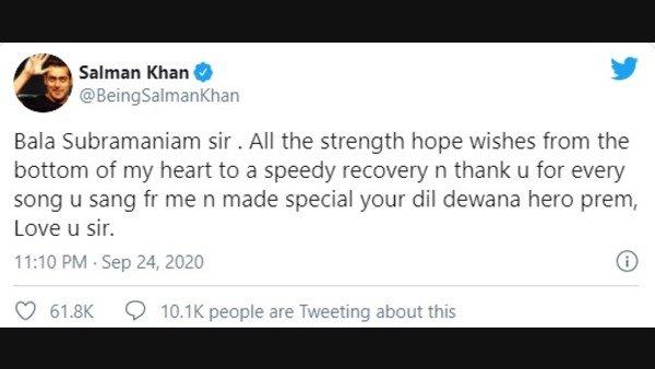 Salman Khan Prays For SP Balasubrahmanyam's Health