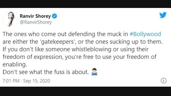 Ranvir Shorey Shares A Hard-Hitting Tweet
