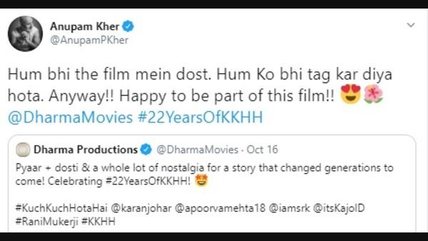 Anupam Kher Takes A Jibe At Dharma Productions' Post