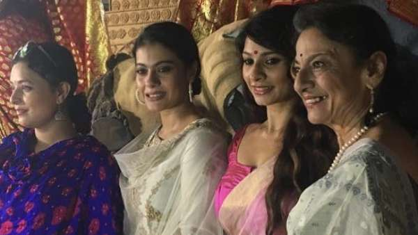 Kajol With Family At A Durga Pooja In 2017