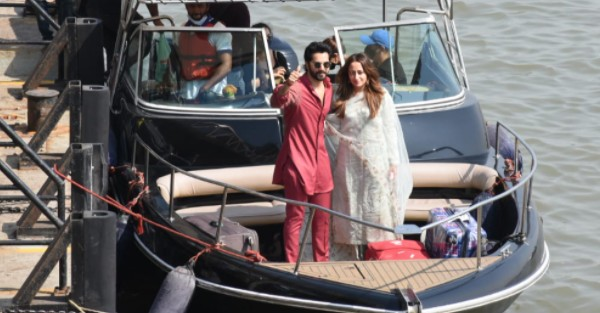 Varun Dhawan And Natasha Dalal Return From Alibaug