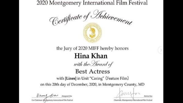 Hina Khan Bags Best Actress Award At MIFF 2020