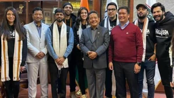 Varun Dhawan, Kriti Sanon Meet Arunachal Pradesh CM